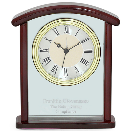 Arched Piano Finish Personalized Desk Clock - Discontinued