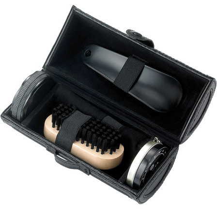 Barrel Black Faux Leather 4 Piece Shoe Shine Set