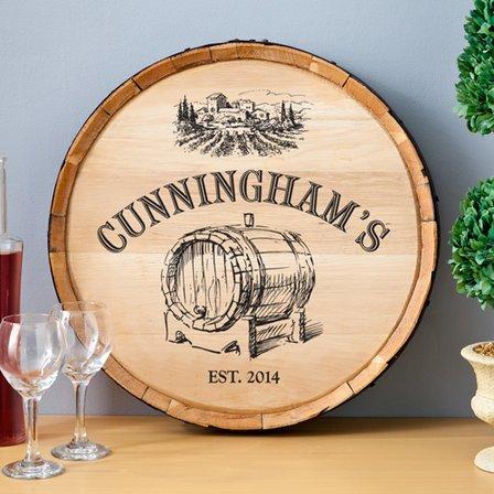 Barrel Of Vino Personalized Wine Barrel Sign