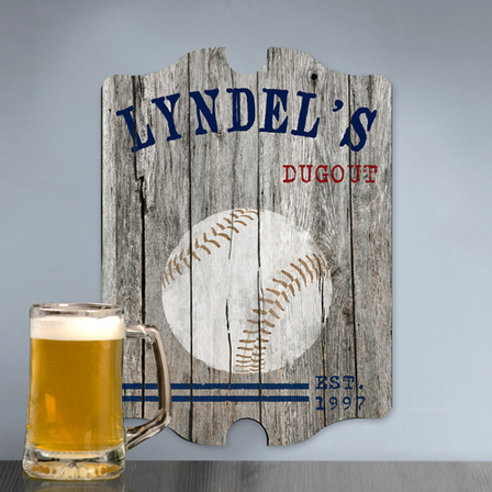 Baseball Vintage Man Cave Sign - Free Personalization