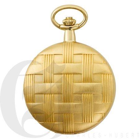 Basketweave Gold Mechanical Charles Hubert Pocket Watch & Chain #3841-GR