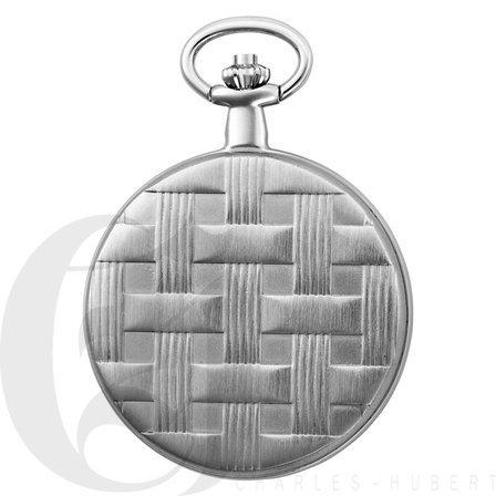 Basketweave Silver Mechanical Charles Hubert Pocket Watch & Chain #3841-WR