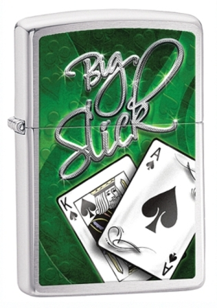 Big Slick Brushed Chrome Zippo Lighter - ID# 28281 - Discontinued