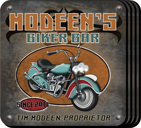 Biker Bar Coaster Set - Free Personalization