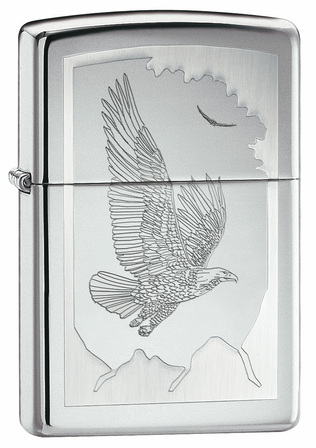 Birds of Prey High Polish Chrome Zippo Lighter - ID# 21069