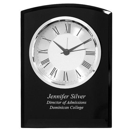 Black Glass Personalized Dome Desk Clock