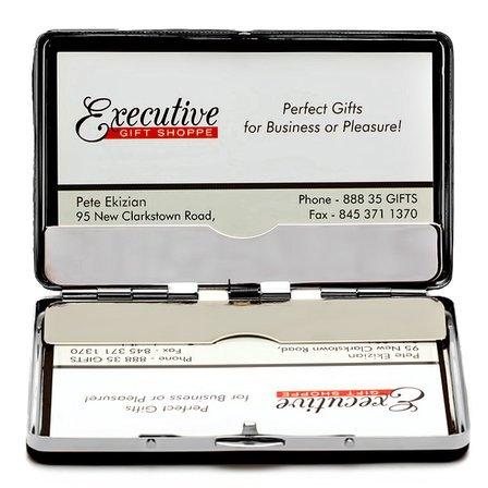 Black Leather Engraved Business Card Holder