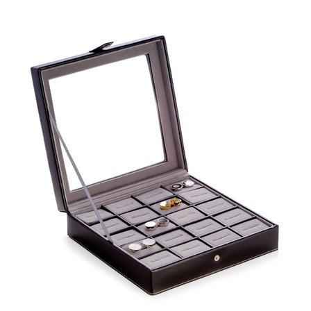 Black  Leather Cufflinks Box