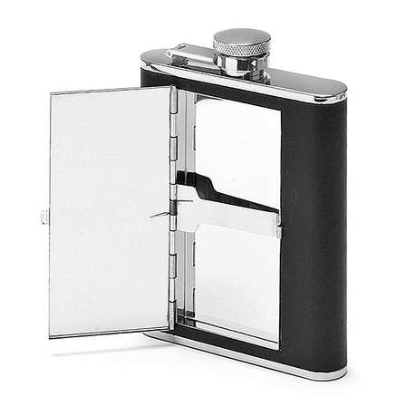 Men's Engraved Leather Flask With Cigarette Case
