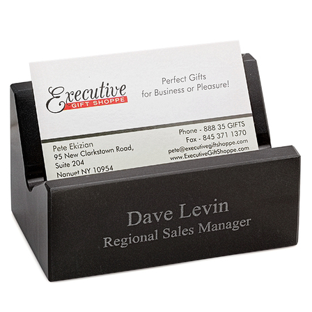 Black Marble Personalized Desktop Business Card Holder