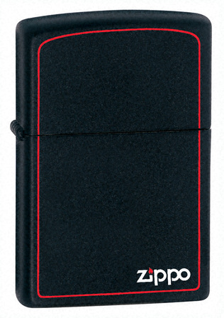Black Matte with Zippo & Border Zippo Lighter - ID# 218ZB