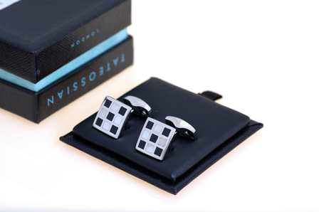 Black Onyx & Mother of Pearl Checkerboard Cufflinks by Tatteossian - Discontinued