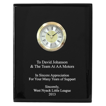 Black Piano Finish Recognition Wall Plaque with Clock