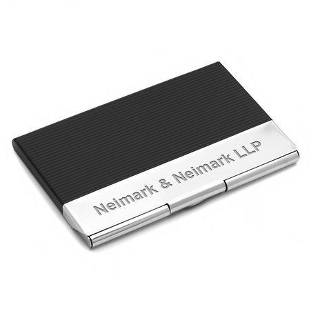 Black & Silver Engraved Business Card Holder