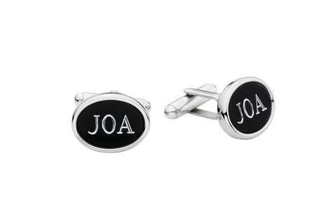 Black & Steel Engraved Cufflinks