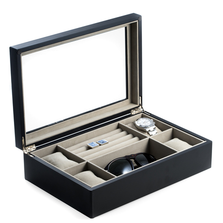 Black Wood Valet & Watch Box