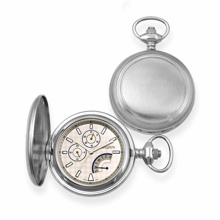 Bordered Satin Steel  Quartz Pocket Watch - Discontinued