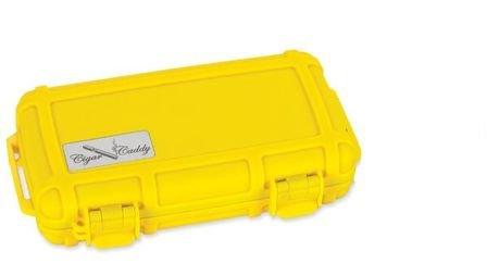 Bright Yellow Five Cigar Caddy Travel Humidor