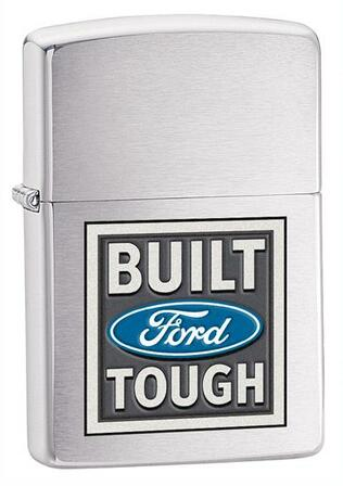 Built Ford Tough Brushed Chrome Zippo Lighter - ID# 28259 - Discontinued