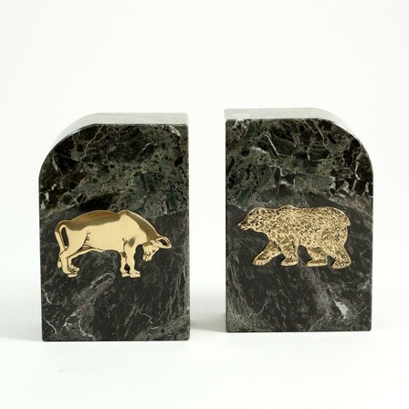 Bull & Bear Green Marble Bookends