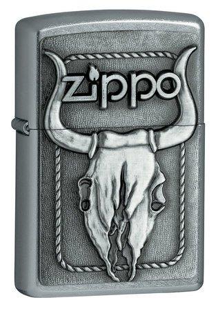 Bull Skull Emblem Street Chrome Zippo Lighter  - ID# 20286