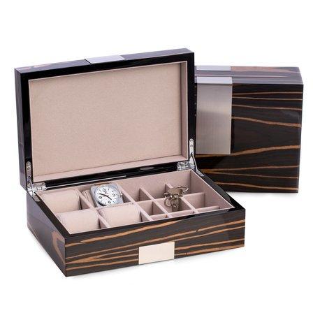 Burl  Wood  Watch  &  Cufflinks  Valet  Box