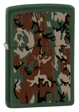 Camouflage Green Matte Zippo Lighter - ID# 28330- Discontinued