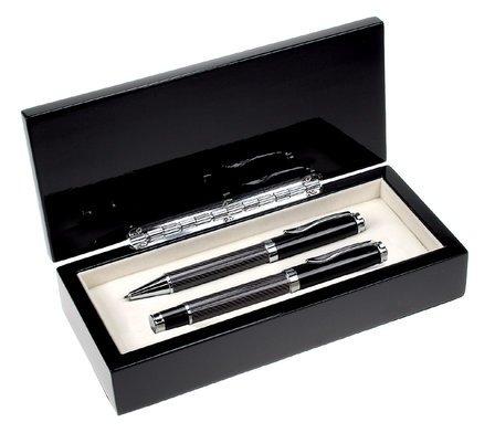 Personalized Black Glass Double Pen Set