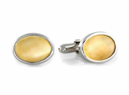 Cat's Eyes Sterling Silver & 14 Karat Gold Cufflinks