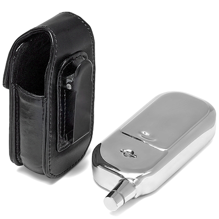 Cell Phone Flask with Black Leather Pouch