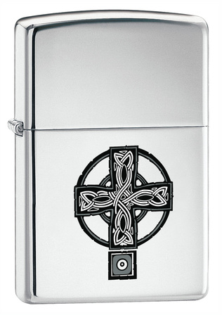 Celtic Cross High Polish Chrome Zippo Lighter - Discontinued