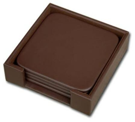 Classic Leather 4 Square Coaster Set With Holder