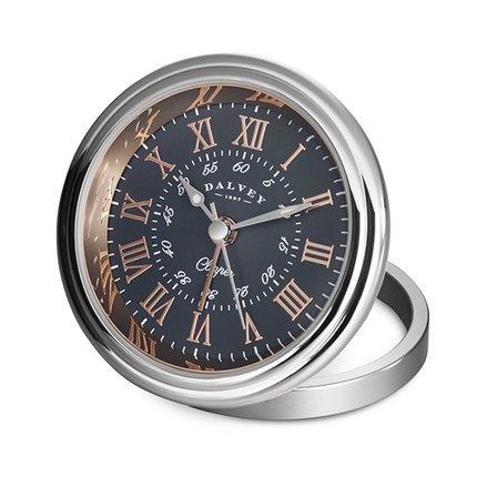 Clipper Travel Alarm Clock by Dalvey - Black & Rose Gold