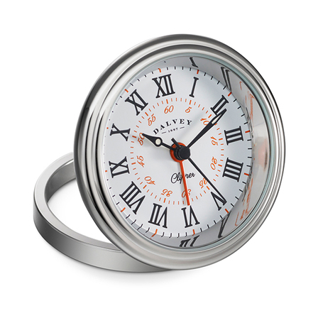 Clipper Travel Alarm Clock by Dalvey - White & Orange