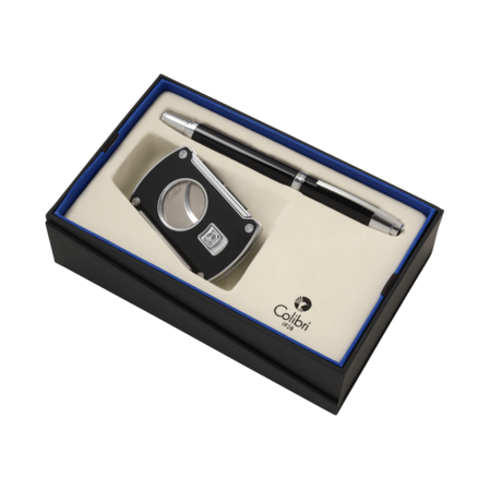 Colibri Slice Cigar Cutter & Roller Ball Pen Gift Set - Discontinued