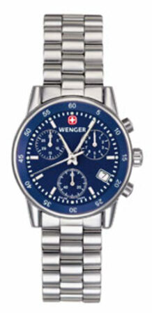 Commando Chrono Blue Dial & Stainless Bracelet Women's Watch by Wenger - Discontinued