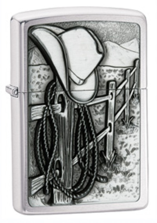Cowboy Emblem Brushed Chrome Zippo Lighter - ID# 24879