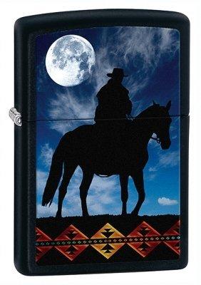 Cowboy Moon Black Matte Zippo Lighter - ID# 28311-Discontinued