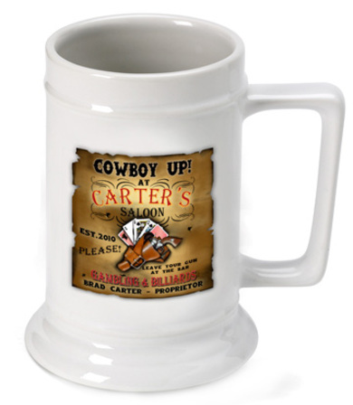 Cowboy Up German Beer Stein - Free Personalization