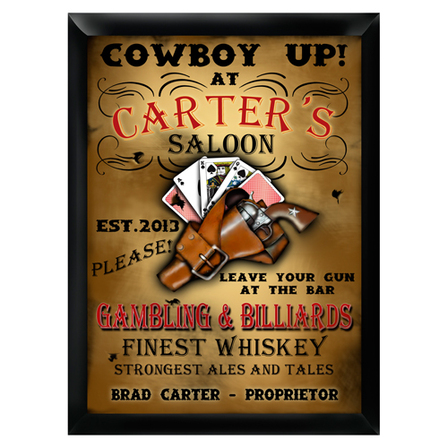 Cowboy Up Pub Sign - Free Personalization