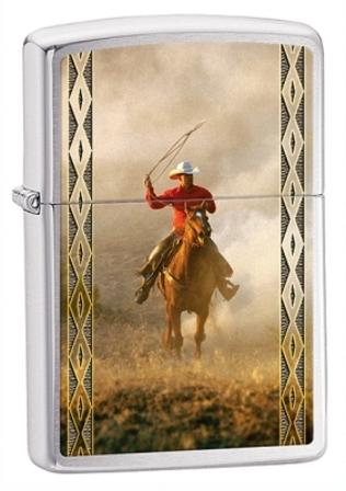 Cowboy with Lasso Brushed Chrome Zippo Lighter - ID# 28284 - Discontinued