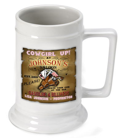 Cowgirl Up German Beer Stein - Free Personalization