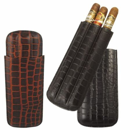 Crocodile Print Leather Three Finger Cigar Case