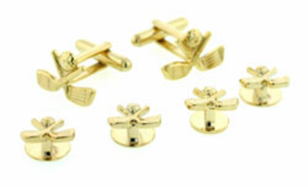 Crossed golf clubs cufflinks and shirt studs formal set
