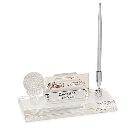 Crystal Golf Desktop Business Card Holder & Pen Stand - Discontinued