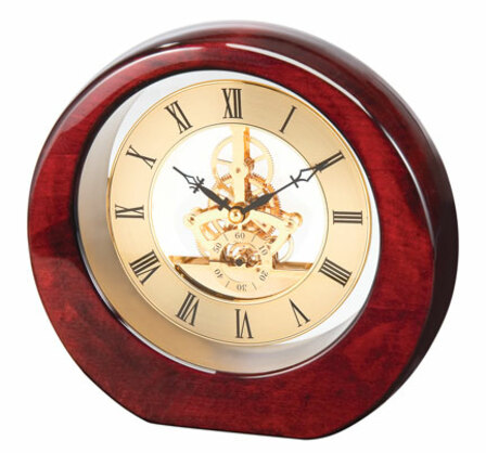 Da Vinci See Thru Mahogany Finish Wood Desk Clock