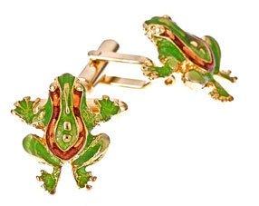 Dark and Light Green Frog Cufflinks