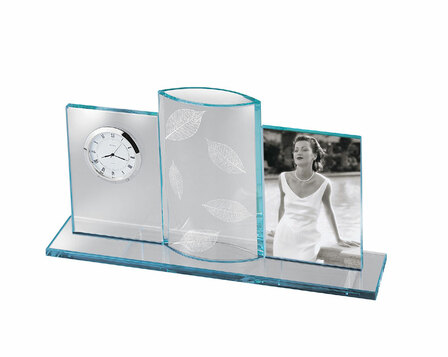 Desktop Photo Frame & Clock with Center Vase by Bulova - Discontinued
