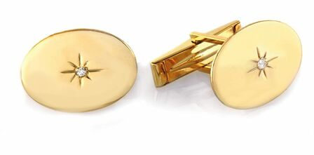 Diamond Starburst 14 Karat Gold Cufflinks