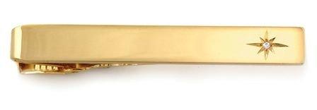 Diamond Starburst 14 Karat Gold Engravable Tie Bar